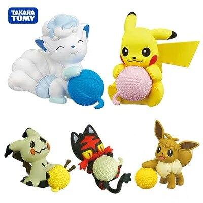 TAKARA TOMY pokemon Gashapon Litten Mimikyu Eevee Action Figure toys For children