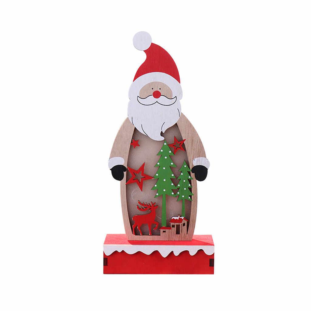 크리스마스 나무 장식 빛나는 나무 장식품 노인 엘크 눈사람 패턴 빛 크리스마스 창 테이블 장식 10 월