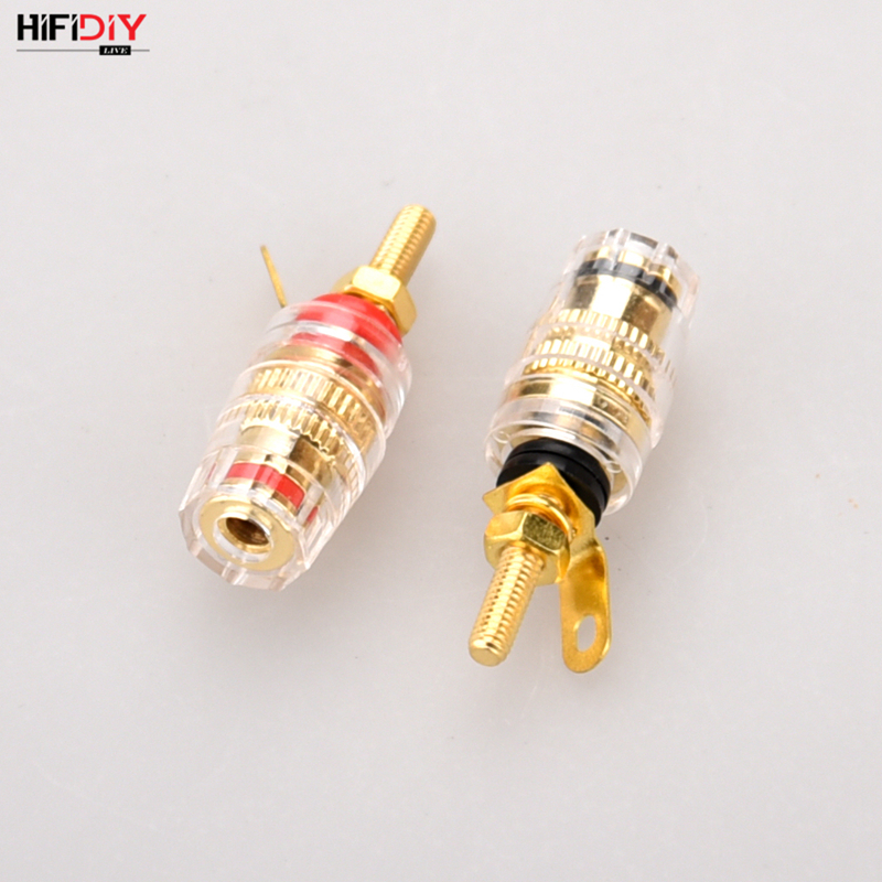 HIFIDIY LIVE 2 Pcs DIY Speaker Terminal Connector Binding Post HIFI Amplifier Pure Cupper Gold-plated Banana Socket  Small Size