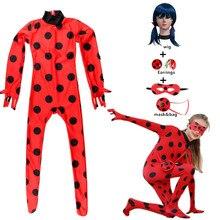 Disfraz de Lady Bug para niñas y adultos, mono de Cosplay para niñas, trajes para niños, bolsa de peluca, pendientes de Halloween