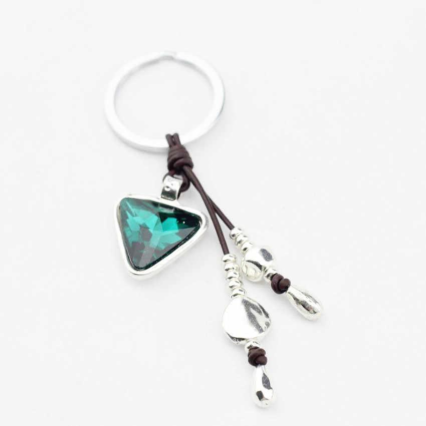 Anslow marca atacado jóias desconto triângulo cristal encantos chaveiros para meninas femininas saco chave acessórios amigos low0014ky