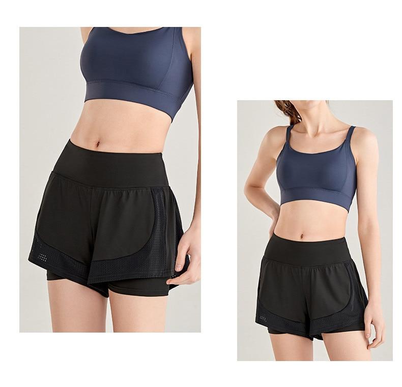 Shorts Women Workout Shorts High Waisted Running Shorts Double Layer Quick-drying Athletic Yoga Shorts Fitness Shorts (1)