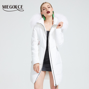 Image 2 - MIEGOFCE 2019 New Winter Collection Jacket Women Winter Parka With a Fur Hood Patch Pocket Women Coat different unusual colors