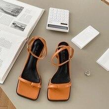 Gladiator Middle Heels Sandal Shoes Fashion Brand Strap Flip