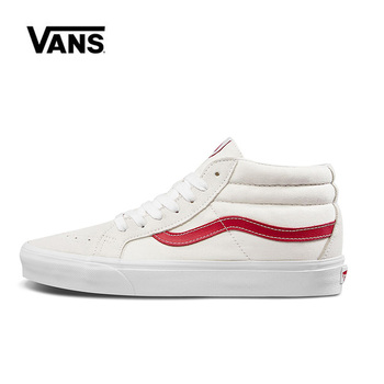 Original Vans Sk8 Hi Mid Red Shoes Man and Women Unisex High Mid Classic Sneakers Skateboarding Shoes VN0A391FOXS