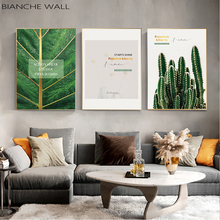 Green Plant Leaf Cactus Canvas Poster Quotes Print Scandinavian Painting Decorative Picture Modern Living Room Nordic Decoration