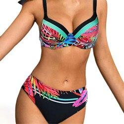 Leaf Printed Swimwear Women Bandeau Swimsuit Solid Color Straps Bikini Double Strap High Waist Split Swimsuit Купальник @40