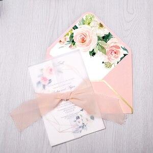 Image 3 - 50pcs Wedding Invitations Burgundy Color with Flower Envelope, Ribbon for Wedding