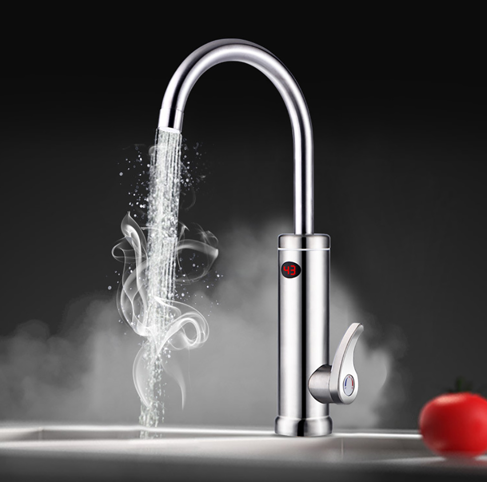 3000W Instant Hot Water Tap Stainless Steel Electric Faucet Fast Electric Heating Faucet Water Heater Bottom Water Inlet
