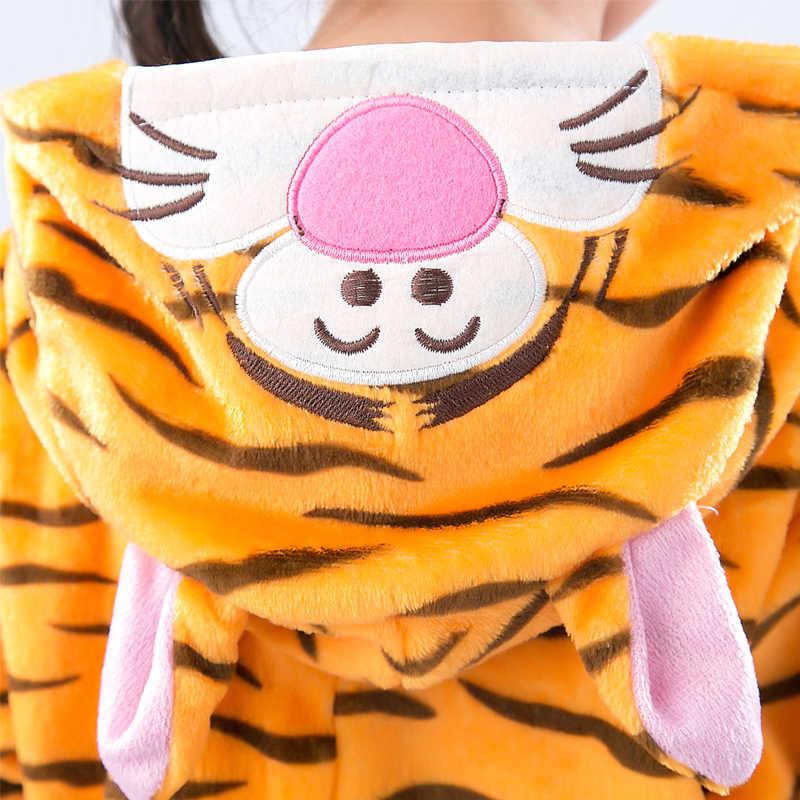 Unicorn Kigurumi סרבל תינוקות ילדים פיג 'מה לילדים בעלי החיים טייגר סטיץ פנדה קריקטורה שמיכת סליפרס תלבושות חורף בנים