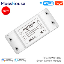 RF433 WiFi DIY Smart Switch Module RF433 Remote Control for Smart Automation Smart Life Tuya Work with Alexa and Google Home tanie tanio MoesHouse MS-101WR Neutral+Live wire AC 110V-250V 50-60Hz 1800W IEEE802 11b G N WEP WPA-PSK WPA2-PSK Wi-Fi 2 4GHz Less than or equal to 0 3W