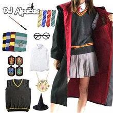 Collar de Cosplay de Hermione, disfraz de magia, Túnica, bufanda para Jersey, corbata, ropa, capa