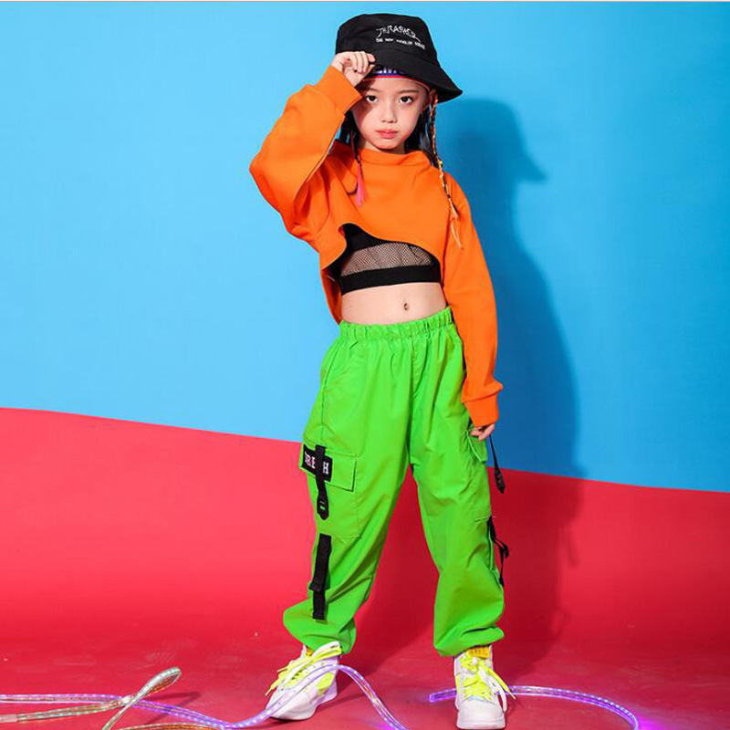 Children Hip Hop Outfits Sweatshirt Top Crop Running Casual Pants Girl Kids Jazz Dance Costume Wear Ballroom Dancing Clothes