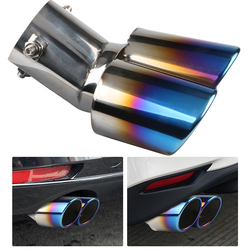 Blue Car Exhaust Tip Dual Outlet Burnt Rolled Edge Stainless SteelAuto Muffler Outdoor Anti-resistance Repairing Parts