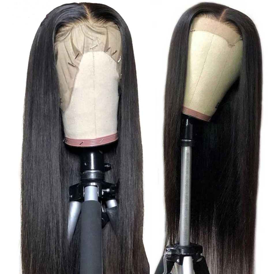 PAFF 13x4 24 26 Inch Long Black Natural Hairline Straight Synthetic Lace Front Wig For Women Soft Heat Resistant Fiber Hair Wig