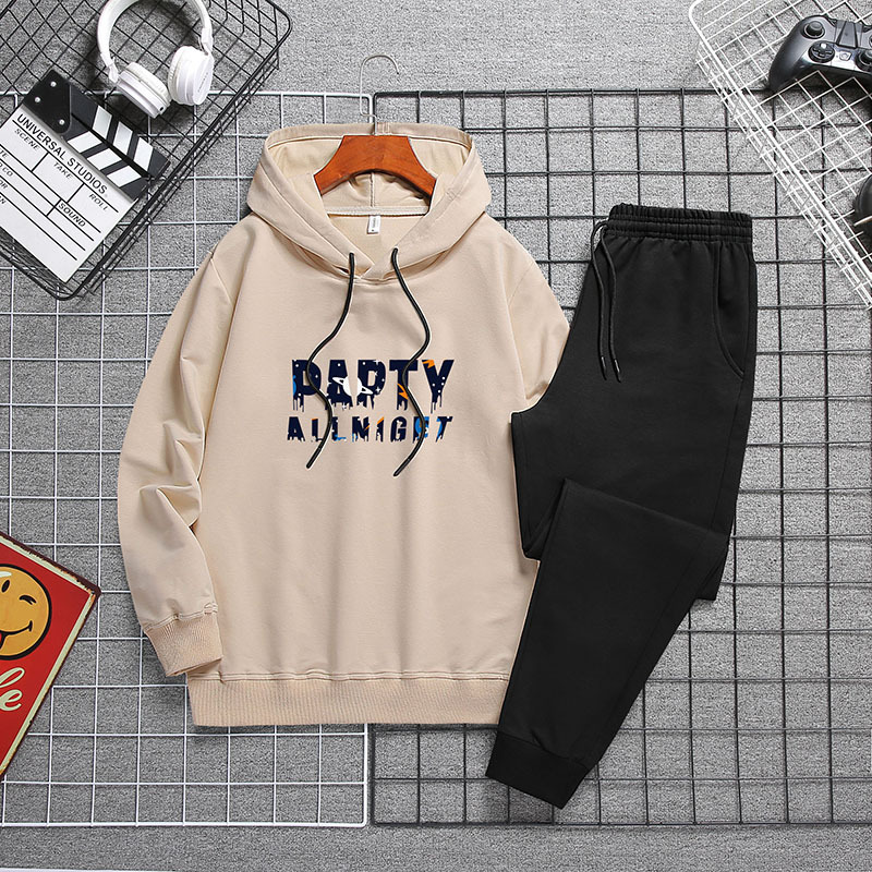 Mens Autumn Letters Printing Hoodies Pants 2piece Set Gym Joggers Sweatsuits Casual Outdoor Sports Running Tracksuits Sweatpants