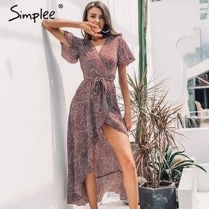 Женское длинное леопардовое платье Simplee, 2019 летнее зеленое пляжное платье с запахом, поясом и цветочным принтом, праздничная женская одежда ...