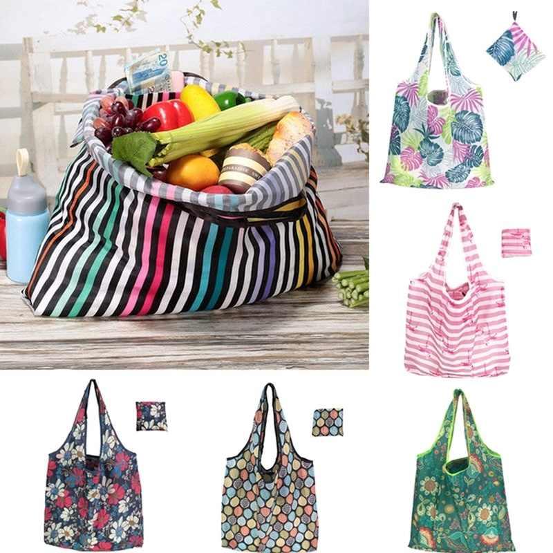 1PC Unisex Handy Shoppingกระเป๋ารีไซเคิลกระเป๋ารีไซเคิลกันน้ำกระเป๋าถือดอกไม้ที่มีสีสันตัวอย่างกระเป๋า