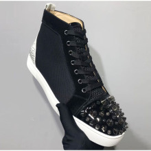 Red bottom shoes Black Spiked Rivet Round Toe Patent Leather Men Shoes