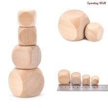 1 pz dadi in legno originali 18mm 20mm 25mm 30mm facce vuote per la stampa incisione giocattoli per bambini gioco dadi a 6 facce