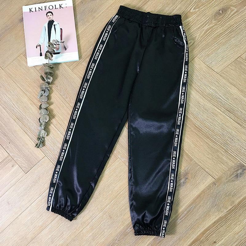 Womens Summer Satin Highlight Glossy Thin Pants New Loose Slim Fit Ribbon Fashion Harajuku Joggers Sports Pants With Big Pocket