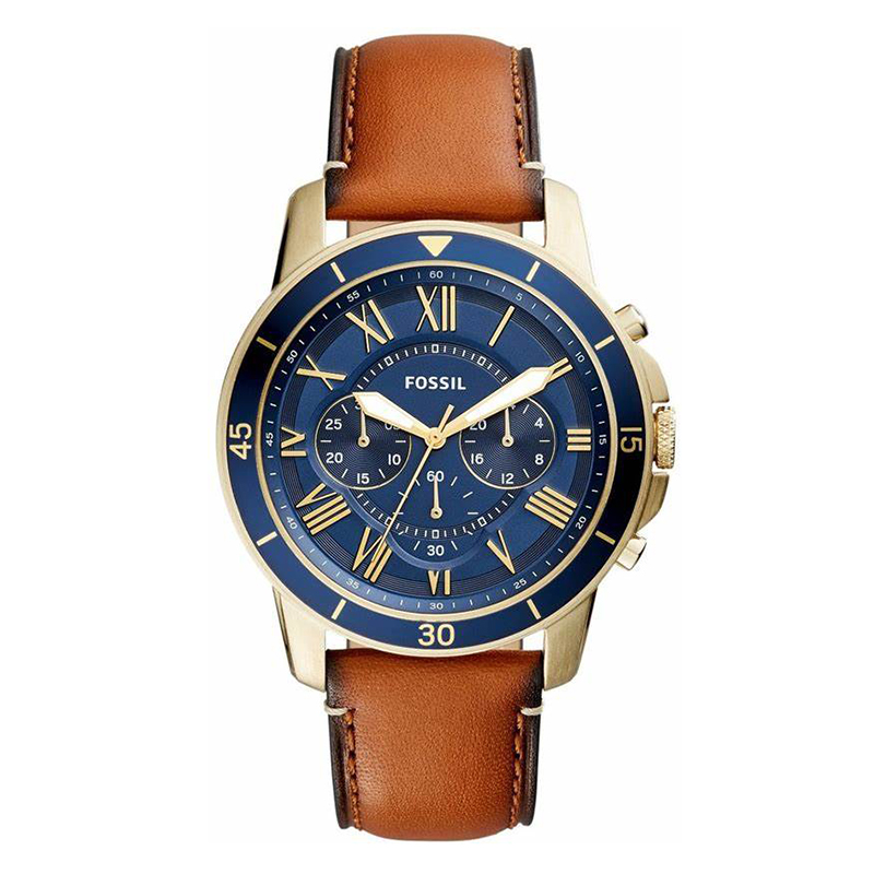 Fossil Grant Sport Chronograph Watch Mens Luggage Leather Watch Brand Stainless Steel Quartz Watch FS5268