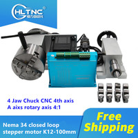 Free shipping Nema 34 closed loop stepper motor (4:1) K12 100mm 4 Jaw Chuck 4th axis A aixs rotary axis + tailstock for router