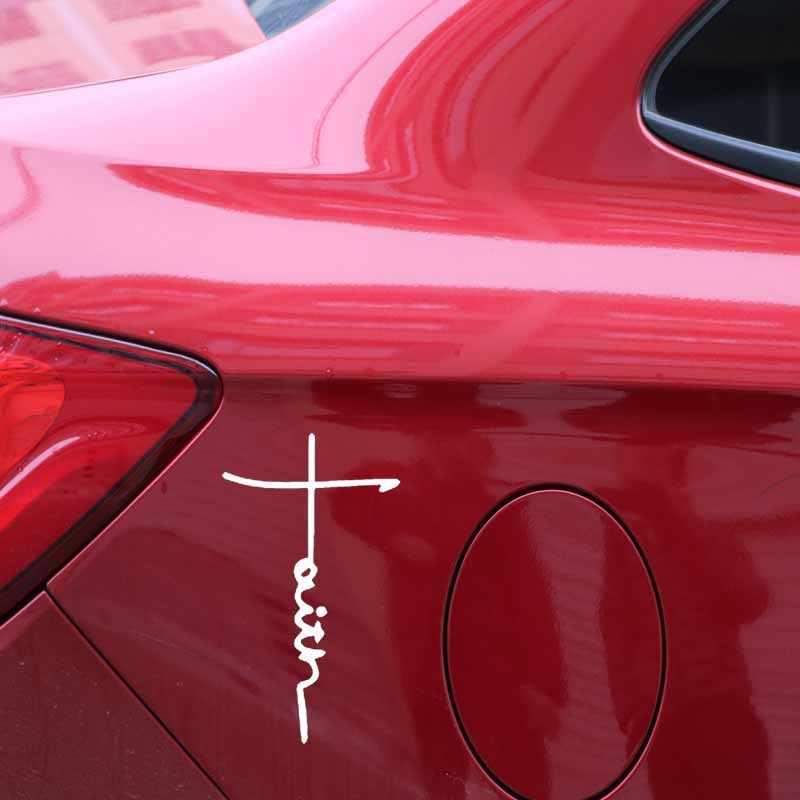 Auto Sticker Geloof Kruis Symbool Religie Christian Pvc Decal Art Auto Decoratie Sticker Waterdicht Zwart/Wit, 16Cm * 9Cm
