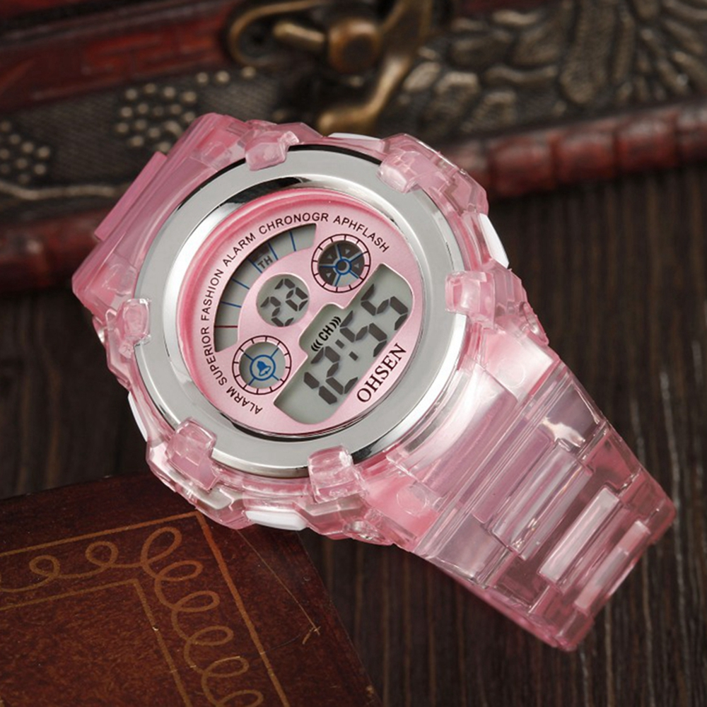 Digital Kids Watches Children LED Fashion Sport Waterproof Watch Cute Pink Silicone Girl Boys Wrist Watch 7 Colors Led Baby Gift