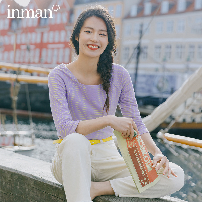 INMAN 2020 Spring New Arrival Literary All-match Square-cut Collar Thin Thwartwise Stripe Pullover Three Quarter Sleeve Leisure