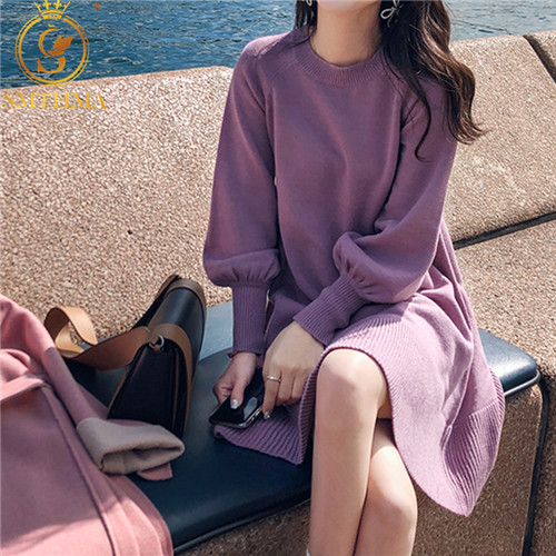 New Spring Korea Dress Women Knitting Oversize Autumn Midi Dress Lantern Sleeve Fashion Sweater Dresses