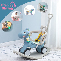 Infant Shining Kids Animal Rocking Horses Multi functional Rocking Chairs Trojan Toys Baby Play Baby Walker Indoor for Girl Gift
