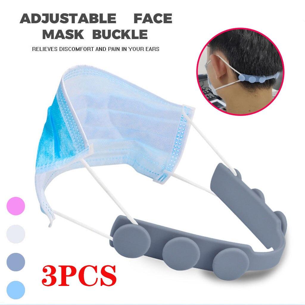 Ear Extension Face Mask Hooks Save Buckle Adjustable Anti-slip 3d Print Grips Mask Fixing Buckle Holder For Men Women 3pcs #M(China)