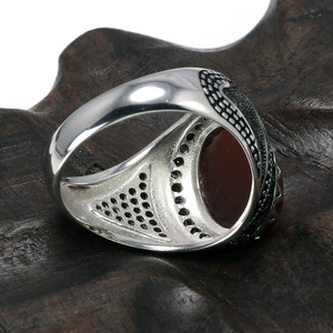 Image 4 - Garantili % 925 gümüş yüzük taç Retro Vintage erkekler için türk yüzükler doğal taşlar ile siyah yeşil kırmızı renk Ringen