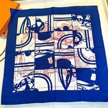 90cm marca de design cinto impressão hijab cachecol feminino bandana artesanal curled sarja seda lenço quadrado luxo foulard cabeça cachecóis xale