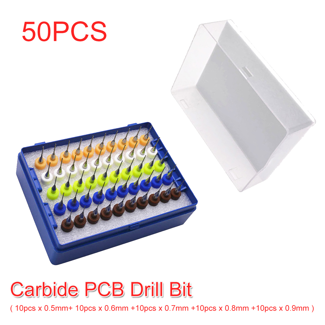 Milling Drilling Tool 50pcs Tungsten Carbide PCB Drill Circuit Board Engraving Tool 3.175mm Shank 0.5mm 0.6mm 0.7mm 0.8mm 0.9mm