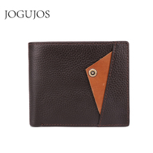JOGUJOS New Genuine Leather Men Wallet Vintage Credit Card Holder RFID Luxury Zipper Coin Purse Man