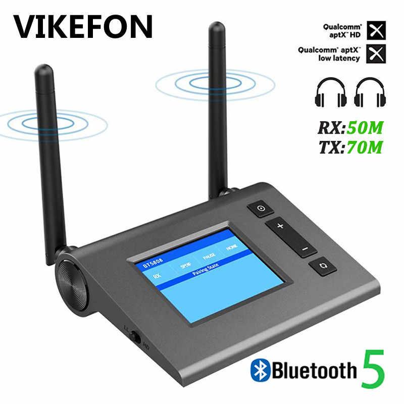 70M Bluetooth 5.0 Audio Receiver Transmitter untuk TV PC Mobil Aptx HD Latency Rendah Spdif Optik 3.5Mm AUX jack RCA Adaptor Nirkabel