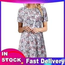 Short-Sleeve Pineapple-Print Dresses O-Neck Above-Knee Vestido-De-Mujer Mini Woman Summer
