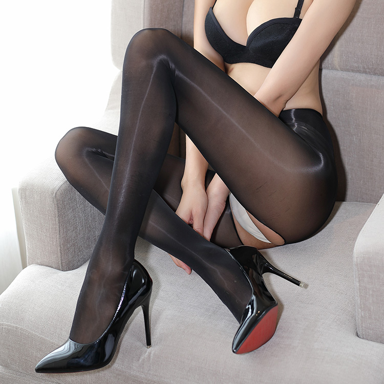 1d 3rd Generation Oil Shiny Pants Open Silk Stocking Sock Jumpsuit Sock Host Bar Sexy Oily Thin Perspective Gloss Yme Female