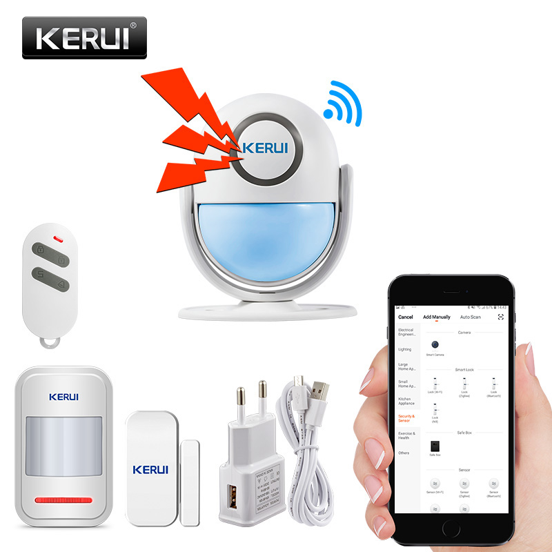 KERUI Alarm Systems Security Alarm Burglar Infrared Motion Sensor Detector 120DB Welcome Door Bell Host WIFI Alarm System Kit