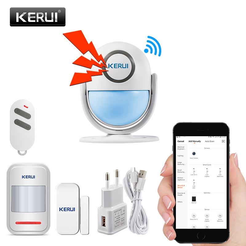 KERUI Alarm Systems Security Alarm Burglar Infrared Motion Sensor Detector 120DB Welcome Door Bell Host WIFI Alarm System Kit