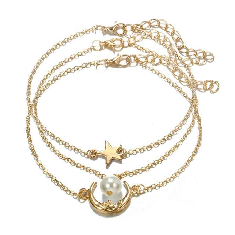 3 sztuk imitacja masy perłowej gwiazda i księżyc kryształ bransoletki i łańcuszki na rękę stóp Anklets zestaw kobiet