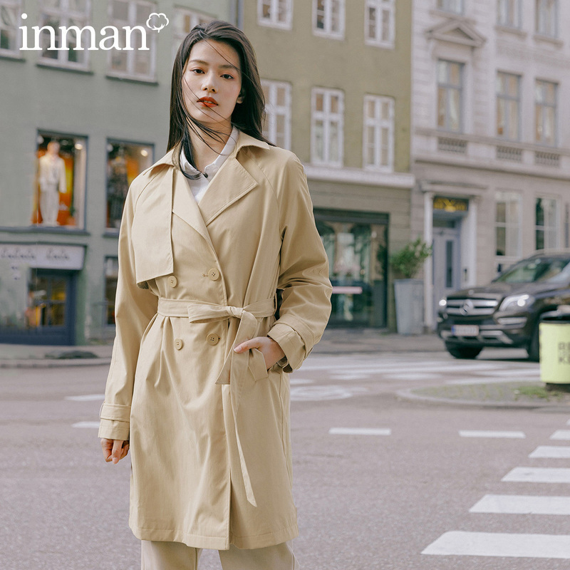 INMAN 2020 Spring New Arrival Literary Lapel Double-breasted Temperament Lacing Nipped Waists Long Wind Coat