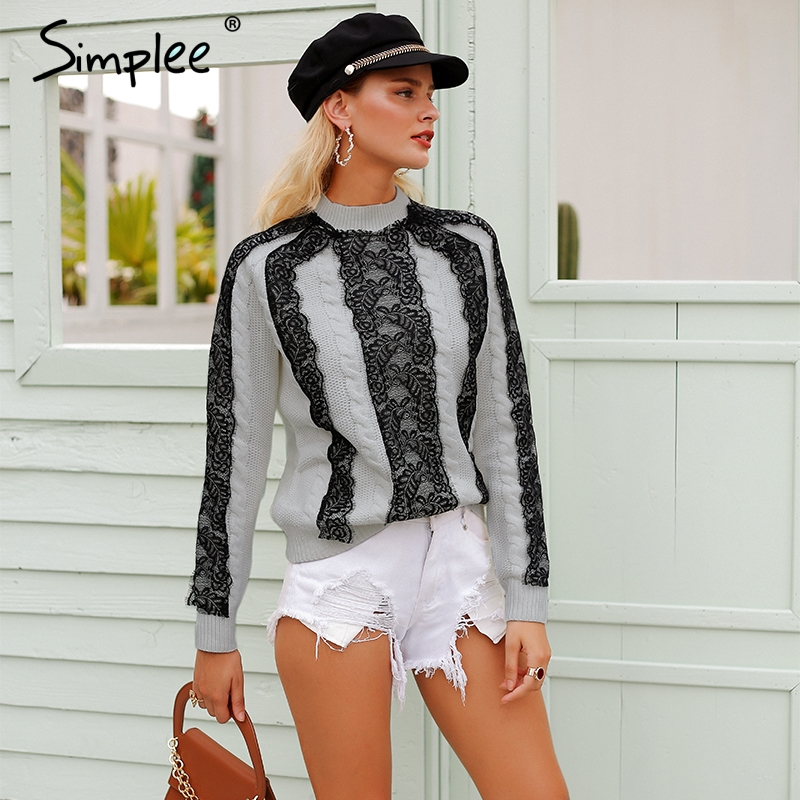 Simplee Elegant Lace Stitching Women Sweater And Pullovers Long Sleeve Knitted Jumpers 2018 Autumn Winter Streetwear Sweaters