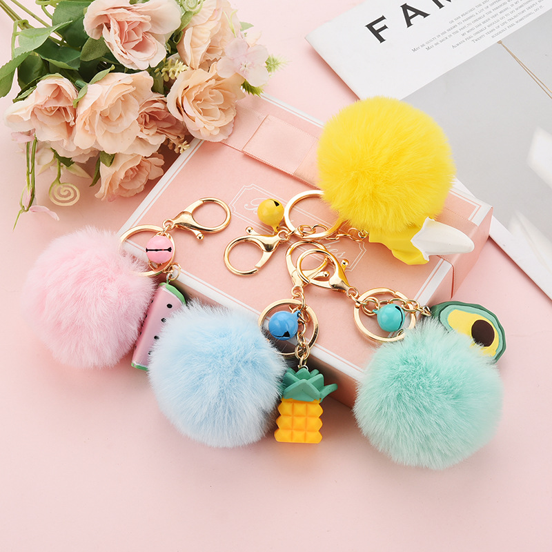 Cute Fruit Avocado Keychain Faux Fur <font><b>Pom</b></font> <font><b>Pom</b></font> Key Chains for Women Car Bag Pendant <font><b>Keyring</b></font> Jewelry Kids Gift Porte Cef image