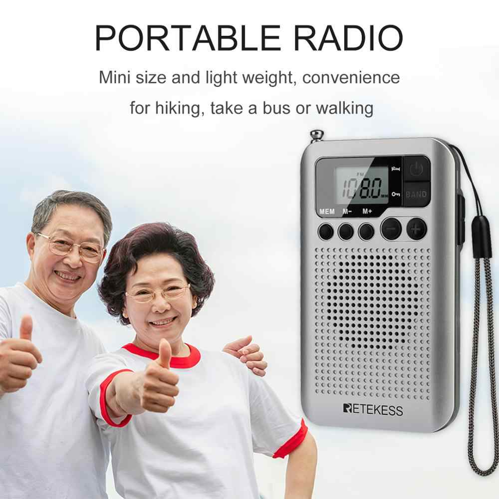 Retekess TR106 Di Động FM Phát Thanh AM Với Màn Hình Hiển Thị LCD Kỹ Thuật Số Điều Chỉnh Loa Tai Nghe Và Hỗ Trợ Chức Năng Đồng Hồ
