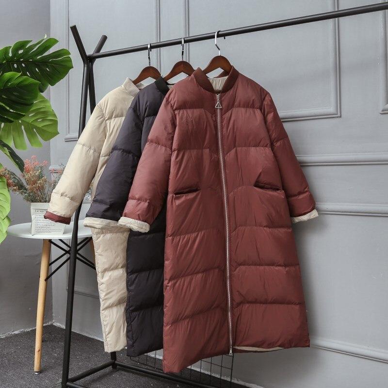 New Winter Coat Women 2019 Ultra Light White Duck Down Jackets Hooded Winter Long Sleeve Warm Plus Size Female Loose Down Jacket