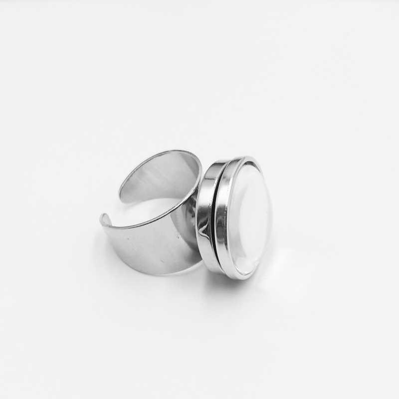 Początkowy/Vintage brązowy Pentagram otwarty pierścień czerwony koza głowa szklana kopuła Baphomet szklany pierścień zatrzaskowy gotycka biżuteria