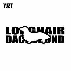 YJZT 17.9X5.4CM jamnik Longhair rasy psów zwierząt winylowa tablica naścienna dekoracyjna naklejka samochodowa czarny/srebrny C24-1389